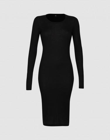 Robe de nuit en laine côtelée pour femme Noir