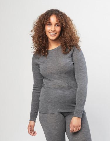 Haut à col ras-du-cou et manches longues pour femme en laine mérinos - gris