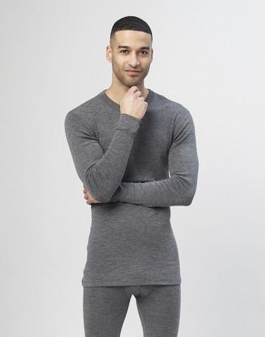 Haut à manches longues pour homme en laine mérinos - gris