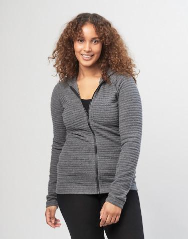 Gilet à capuche en laine polaire rayée pour Femme mélange de gris foncés