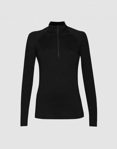T-shirt demi-zip à manches longues - laine mérinos exclusive bio noir