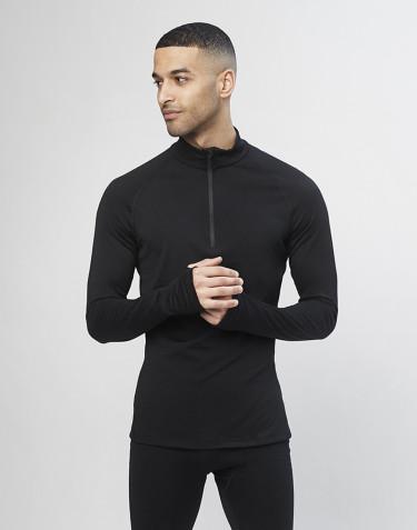 T-shirt zip 1/3 - laine mérinos exclusive bio noir