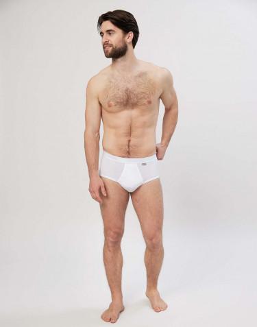 Premium classique -slip en coton avec braguette élastique pour homme Blanc