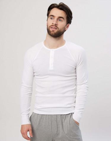 Premium classique - tee-shirt à manches longues en coton pour homme Blanc