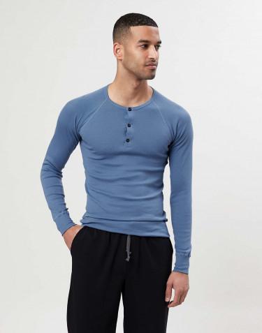 Premium classique - tee-shirt à manches longues en coton pour homme Bleu