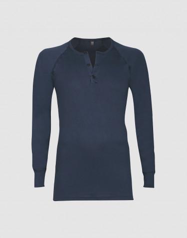 Premium classique - tee-shirt à manches longues en coton pour homme Bleu foncé
