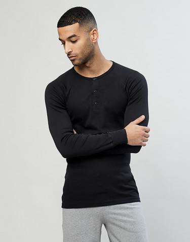Premium classique - tee-shirt à manches longues en coton pour homme Noir