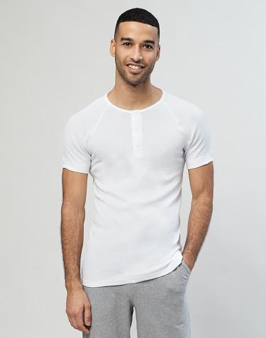 Premium classique - t-shirt en coton avec boutons pour homme Blanc