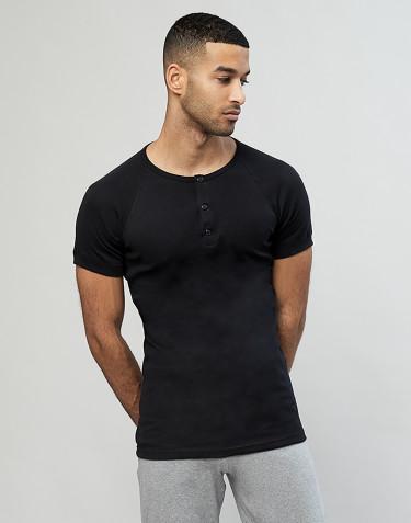 Premium classique - t-shirt en coton avec boutons pour homme Noir