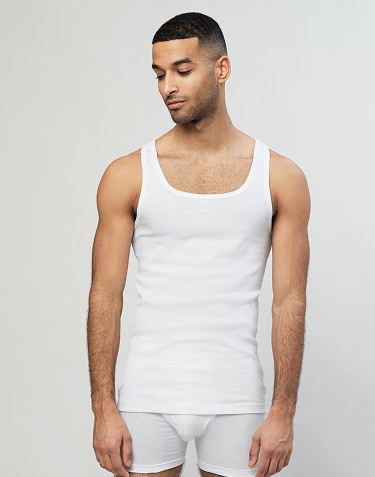 Débardeur en coton côtelé pour homme blanc