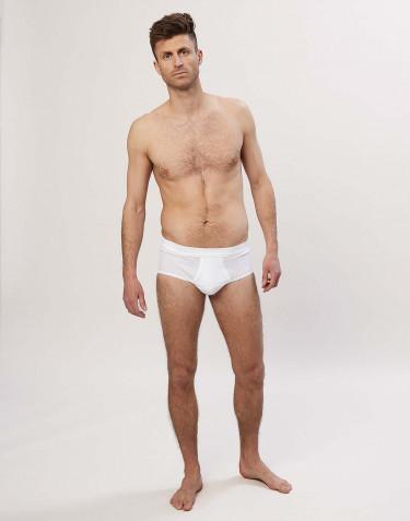 Slip classique en coton côtelé pour homme Blanc