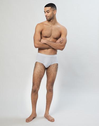 Slip classique en coton côtelé pour homme Gris