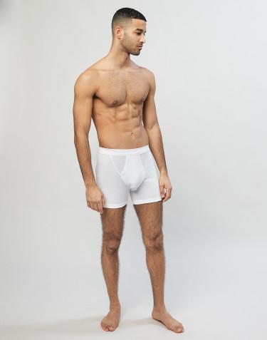 Boxer en coton côtelé avec braguette élastique pour homme blanc