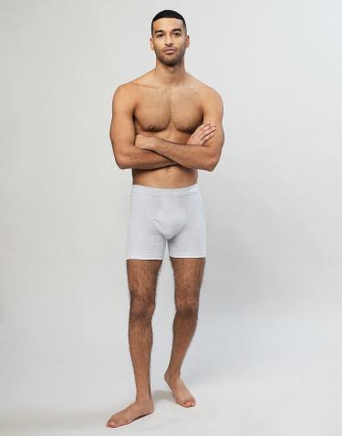 Boxer en coton côtelé avec braguette élastique pour homme Gris