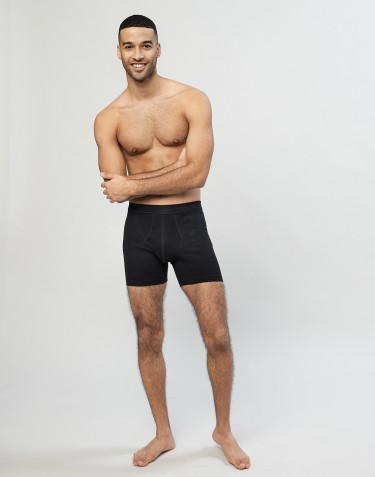 Boxer en coton côtelé avec braguette élastique pour homme noir