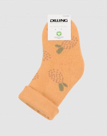 Chaussettes à fleurs pour bébé - tissu éponge laine jaune