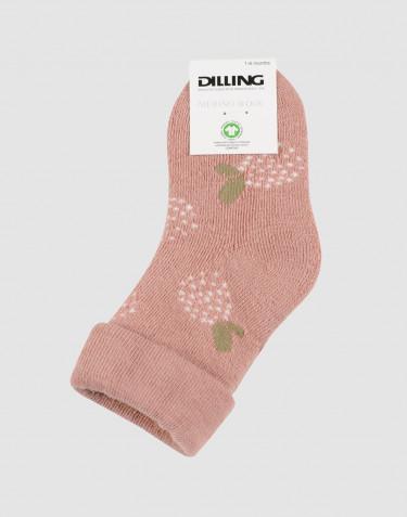Chaussettes fleuries pour bébé - tissu éponge laine rose poudré