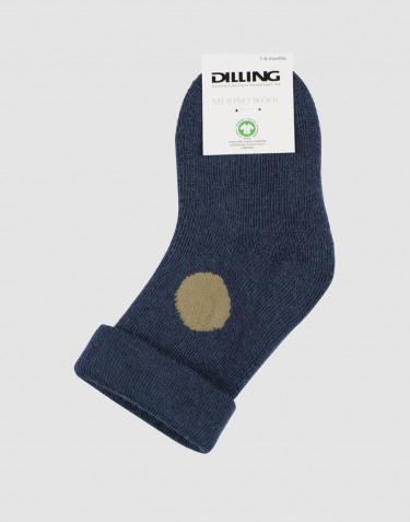 Chaussettes pour bébé - tissu éponge laine bleu pétrole foncé