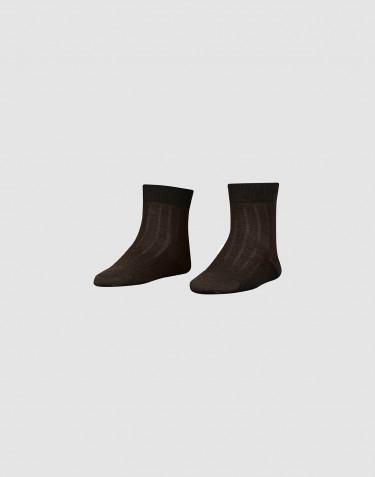 Chaussettes pour enfant en laine mérinos côtelée Chocolat noir