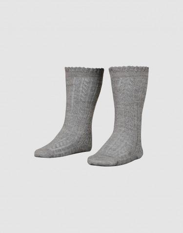Chaussettes hautes pour enfant avec motifs perforés mélange de gris