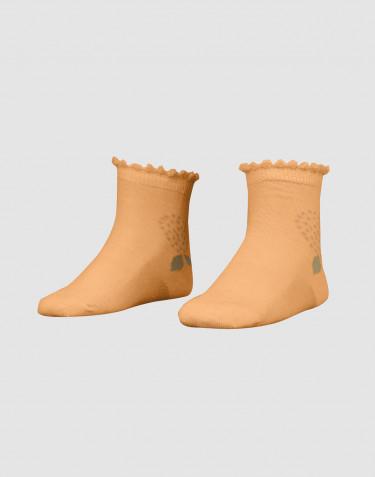 Chaussettes à fleurs pour enfant - laine mérinos bio jaune