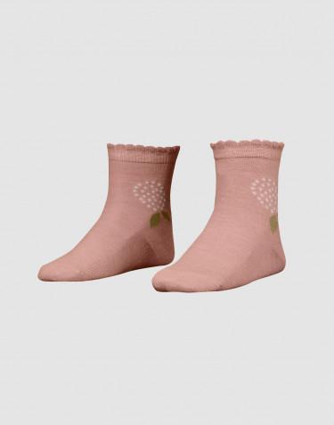 Chaussettes à fleurs pour enfant - laine mérinos bio rose poudré