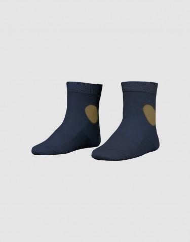 Chaussettes décorées pour enfant - laine mérinos bio bleu pétrole foncé