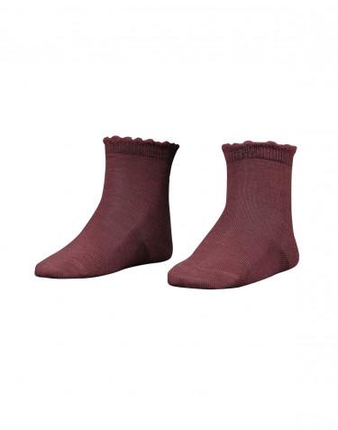 Chaussettes pour enfant - laine mérinos bio rouge