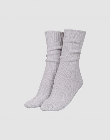 Chaussettes en laine pour femme gris clair