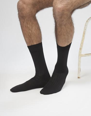 Chaussettes pour homme en laine mérinos côtelée noir