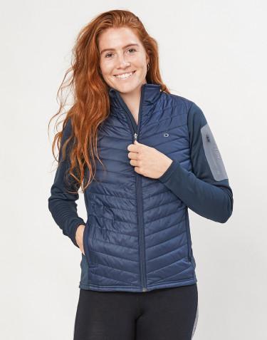 Veste hybride zippée pour femme - polyester recyclé et laine mérinos bleu foncé