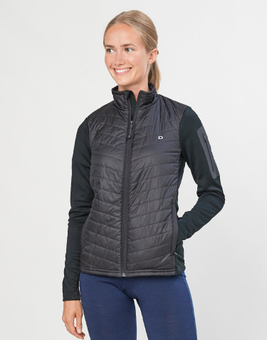 Veste hybride zippée pour femme - polyester recyclé et laine mérinos noir