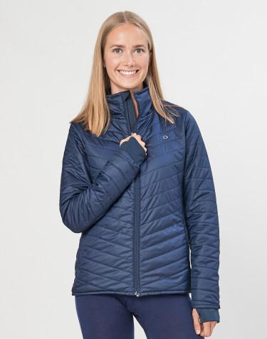 Veste d´extérieur zippée pour femme- en polyester recyclé et laine mérinos bleu foncé