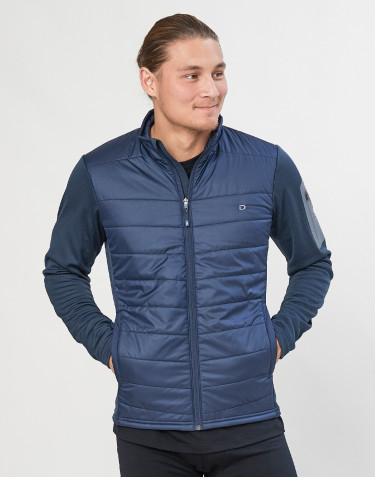 Veste hybride zippée pour homme - polyester recyclé/laine mérinos bleu foncé