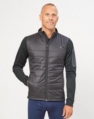 Veste hybride zippée pour homme - polyester recyclé/laine mérinos noir