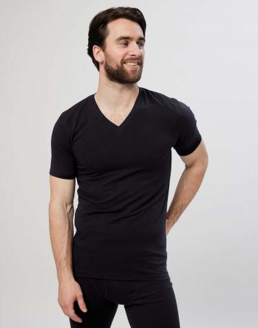Tee-shirt en coton avec col en V pour homme Noir