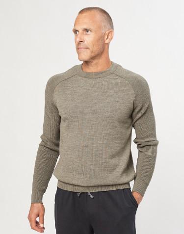 Pull tricoté pour homme vert gris