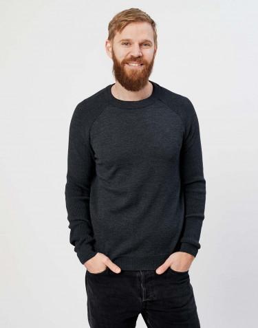 Pull tricoté pour homme mélange de gris foncé
