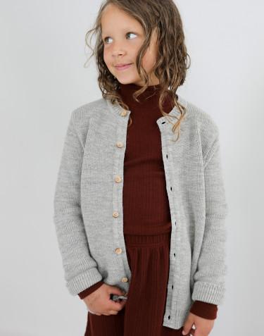 Cardigan en laine côtelée pour enfant mélange de gris