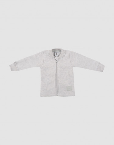 Veste pour bébé en polaire de laine mérinos gris clair