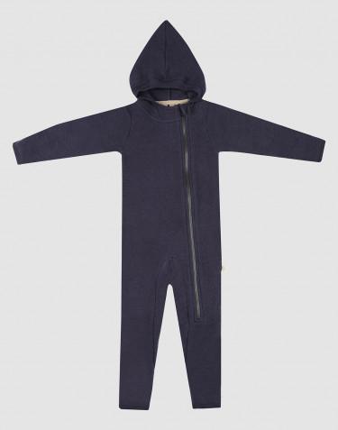 Combinaison pour bébé en polaire de laine mérinos bleu