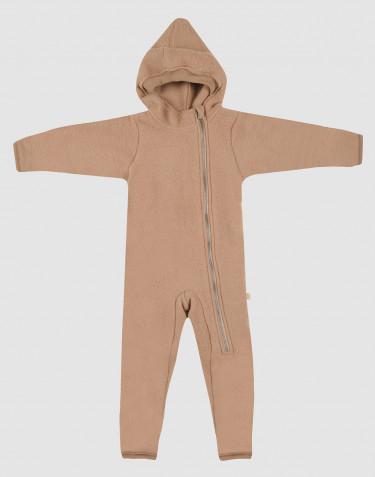 Combinaison pour bébé en polaire de laine mérinos cannelle