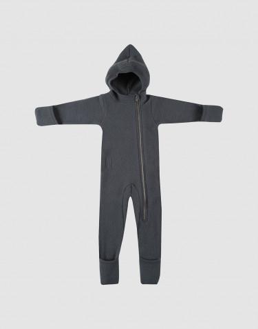 Combinaison pour bébé en polaire de laine mérinos Gris foncé