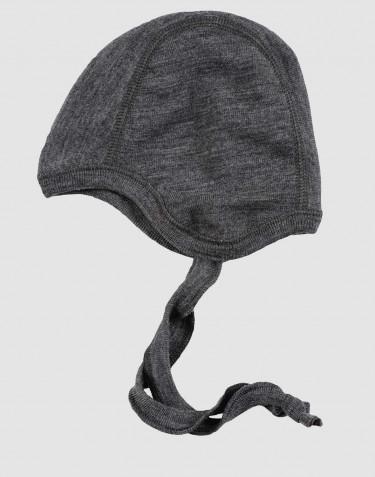 Bonnet pour bébé - laine mérinos bio Mélange de gris foncés