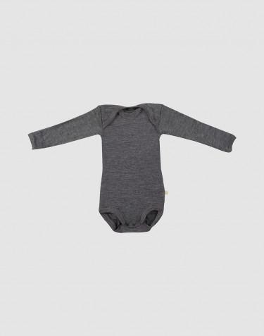 Body pour bébé à manches longues en laine mérinos bio Mélange de gris foncés