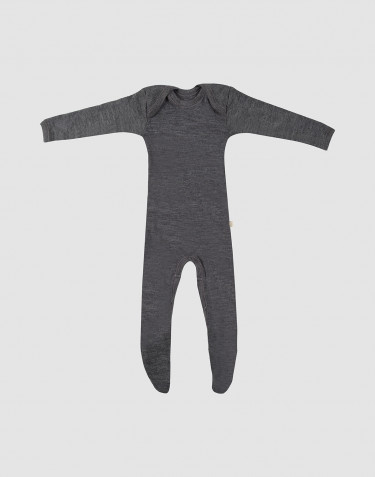Combinaison pour bébé en laine mérinos avec pied Mélange de gris foncés
