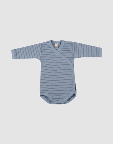 Body croisé en laine mérinos pour bébé bleu rayé