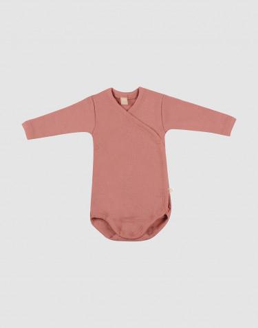 Body croisé en laine mérinos pour bébé rose