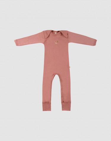 Combinaison en laine mérinos rose