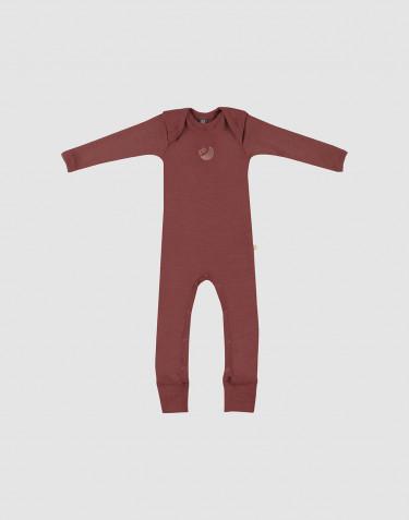 Combinaison pour bébé en laine mérinos Rouge